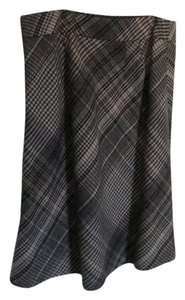 Ann Taylor LOFT A-line Plaid Knee-length Skirt Brown
