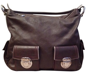 Marc Jacobs Satchel in Brown with red stitching and beige piping