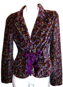Free People Free People Floral Velvet Ribbon Tie-Front Blazer