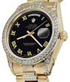 Rolex Rolex Presidential 36MM Day Date Black Roman Diamond 18 KT Yellow Gold Image 0