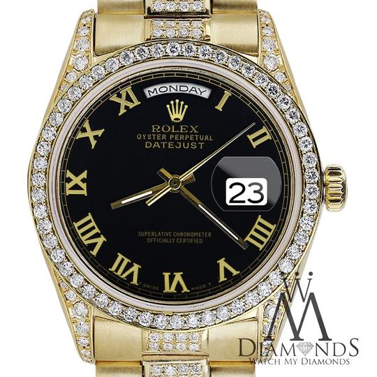 Rolex Rolex Presidential 36MM Day Date Black Roman Diamond 18 KT Yellow Gold Image 1