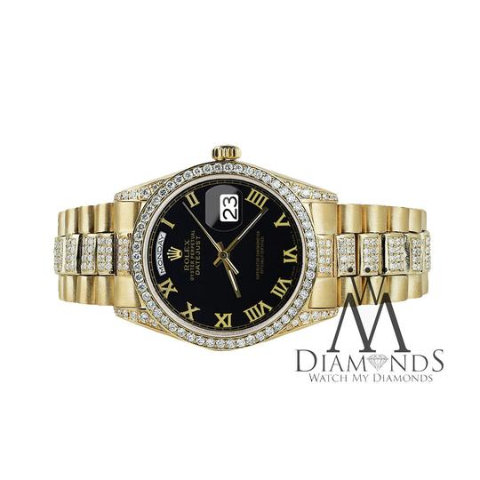 Rolex Rolex Presidential 36MM Day Date Black Roman Diamond 18 KT Yellow Gold Image 2