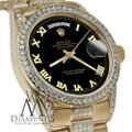Rolex Rolex Presidential 36MM Day Date Black Roman Diamond 18 KT Yellow Gold Image 4