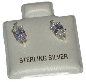 jbs 925 Sterling Silver 8mm Genuine Briolite Marquise Cut Stud Earrings