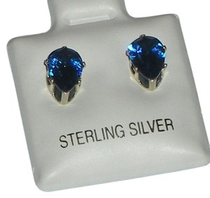 J Brand 925 Sterling Silver 8mm Pear Cut Royal Blue Topaz Stud Earrings