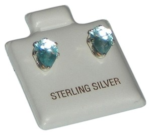 J Brand 925 Sterling Silver Aquamarine 7mm Pear Cut Stud Earrings