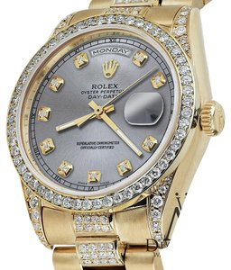 Rolex Rolex Presidential 36MM Day Date Grey Dial Diamond Watch 18 KT Yellow Gold