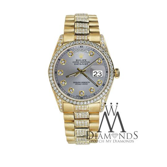 Rolex Rolex Presidential 36MM Day Date Grey Dial Diamond 18 KT Yellow Gold Image 2