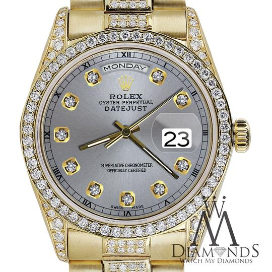Rolex Rolex Presidential 36MM Day Date Grey Dial Diamond 18 KT Yellow Gold Image 4