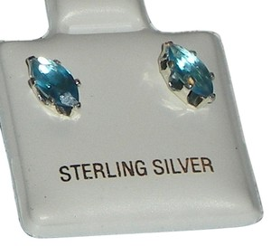 J Brand 925 Sterling Silver 8mm Marquise Cut Aquamarine Stud Earrings