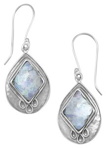 Sterling Collections Textured Pear Ancient Roman Glass Earrings