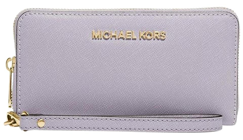 28437f0922fa6 Michael Kors New Lilac Jet Set Travel Multifunction Phone Wallet Saffiano  Leather Image 0 ...