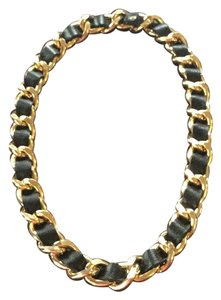 HRH Collection HRH Collection Oh So Couture Black Leather and Gold Chain Necklace