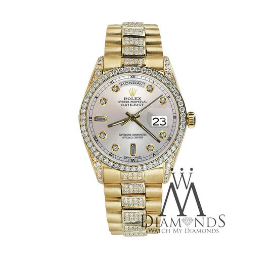 Rolex Rolex Presidential Day-Date Silver Dial Diamond 18 KT Yellow Gold Image 3