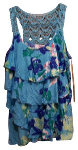 Candie's Summer Blouse Top blue/flowers