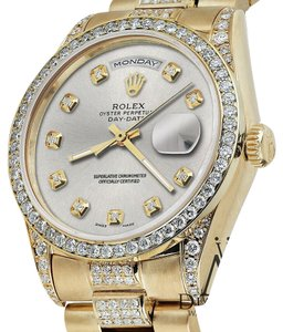 Rolex Rolex Presidential Day-Date Tone Silver Diamond Accent Watch 18KT Yellow Gold