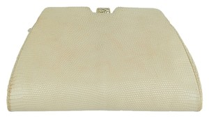 Judith Leiber Leather Evening Ivory Clutch