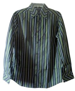 Liz Claiborne Pinstripe Mens Shirt Button Down Shirt Black and Green and White Stripes