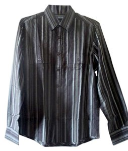 Kenneth Cole Reaction Striped Shirt Mens Shirt Stripes Button Down Shirt Black / Green / Grey
