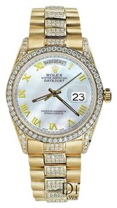 Rolex Rolex Presidential Day-Date 36MM White Roman Diamond Watch 18KT Yellow Gold