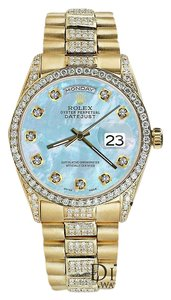 Rolex Rolex Yellow Gold Presidential Day Date 36MM Blue Dial Diamond Watch 18 KT Gold