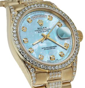 Rolex Rolex Presidential Day Date 36MM Baby Blue Dial Diamond Watch 18 KT Yellow Gold