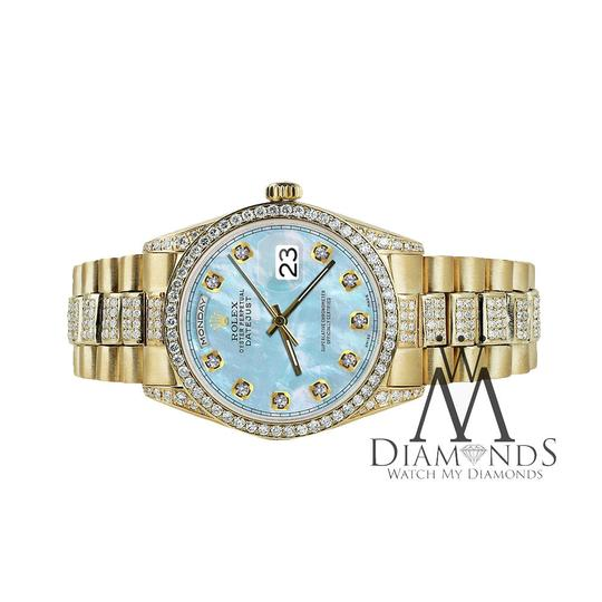 Rolex Rolex Presidential Day Date 36MM Baby Blue Diamond 18 KT Yellow Gold Image 1