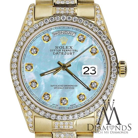 Rolex Rolex Presidential Day Date 36MM Baby Blue Diamond 18 KT Yellow Gold Image 2