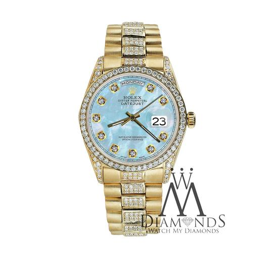 Rolex Rolex Presidential Day Date 36MM Baby Blue Diamond 18 KT Yellow Gold Image 3