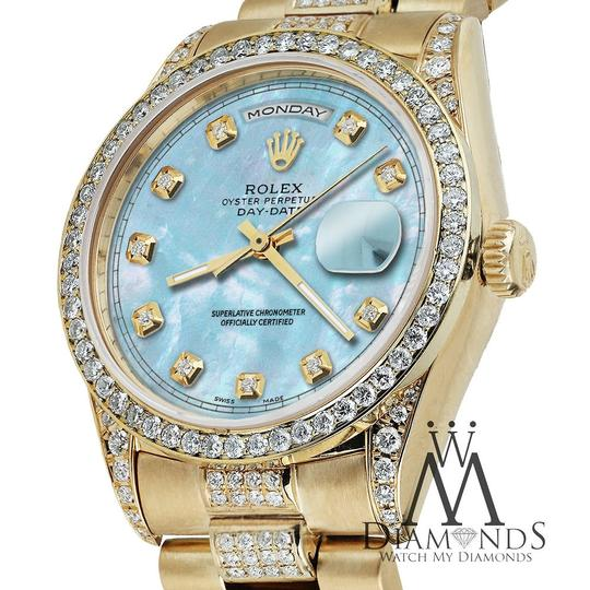 Rolex Rolex Presidential Day Date 36MM Baby Blue Diamond 18 KT Yellow Gold Image 4