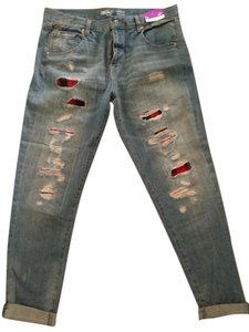 Massimo Distressed Boyfriend Cut Jeans-Distressed