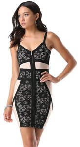 bebe Bandage Bodycon Lace Zip Front Colorblock Dress