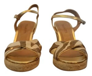 Talbots Silvia Wedge Ivory Flax Metallic Wedges