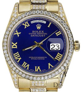 Rolex Rolex Presidential Day Date 36MM Blue Color Roman Diamond Watch 18KT Yellow Gold