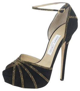 Jimmy Choo Platform Gold Hardware Kalpa Black Pumps