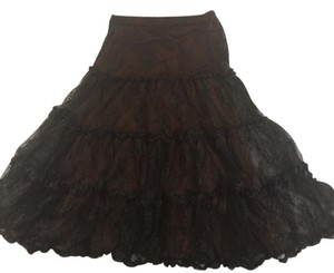 New York & Company Lace Bohemian Skirt Black/brown