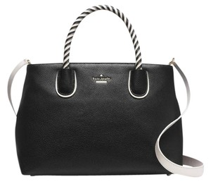 Kate Spade Woods Drive Bodie Black/cement Leather Satchel in Black White