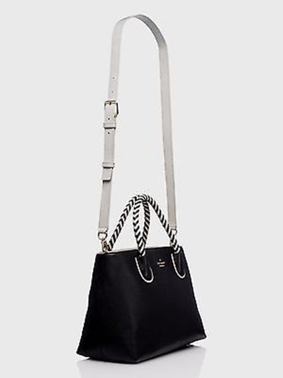 Kate Spade Woods Drive Bodie Black/Cement Leather Satchel in Black White Image 2