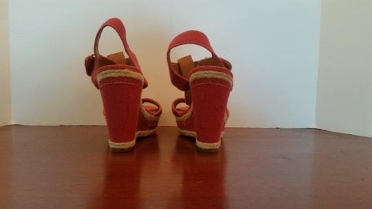 Franco Sarto Size 7.5 Red/Natural Wedges