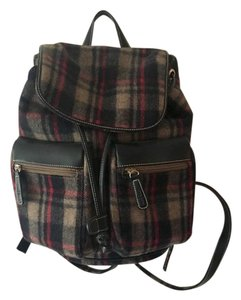 Anne Klein Wool Plaid Casual Backpack