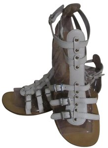Gianni Bini Leather Gladiator Buckles Strappy White Sandals