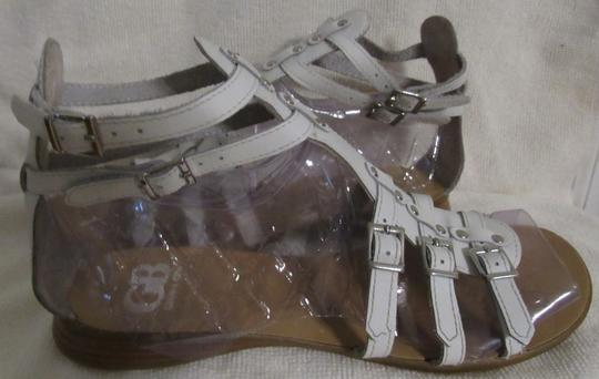 Gianni Bini Leather Gladiator Buckles Strappy White Sandals Image 1