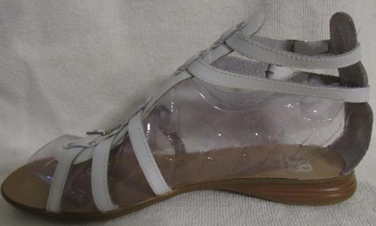 Gianni Bini Leather Gladiator Buckles Strappy White Sandals Image 10