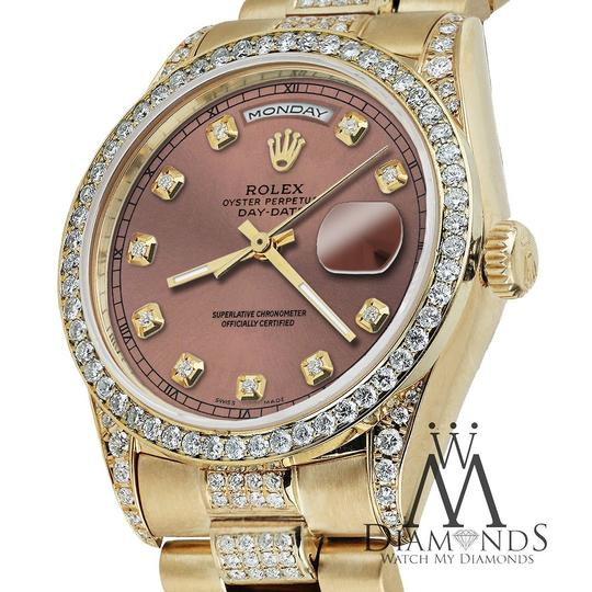 Rolex Rolex Presidential Day Date 36MM Salmon Dial Diamond 18KT Yellow Gold Image 2