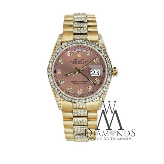 Rolex Rolex Presidential Day Date 36MM Salmon Dial Diamond 18KT Yellow Gold Image 4