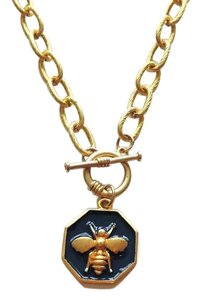 Fornash Bumblebee Necklace by Fornash Goldtone with Navy Blue Accents Toggle Clasp 16.5
