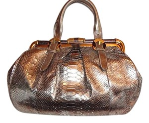 Oscar de la Renta Satchel in Metallic gold python