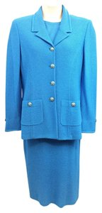 St. John ST. JOHN COLLECTION BY MARIE GRAY BLUE 3-PC. KNIT SKIRT SUIT 12