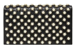 Alice + Olivia Leather Chanel Chanel Black and White Pearl Clutch