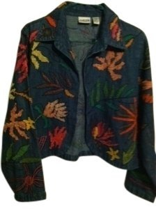 Chico's Denim Multi Color Womens Jean Jacket